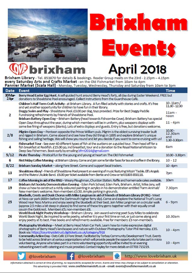 Brixham April 2018 Events