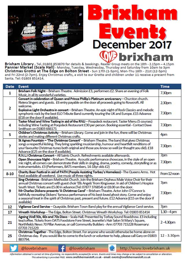 Brixham December 2017 Events