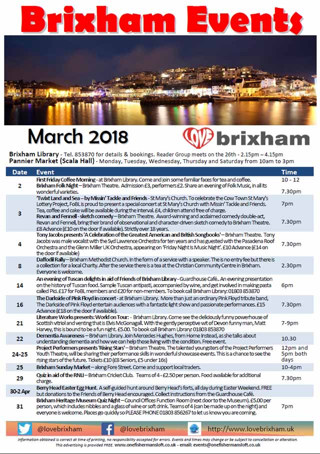 Brixham March 2018 Events
