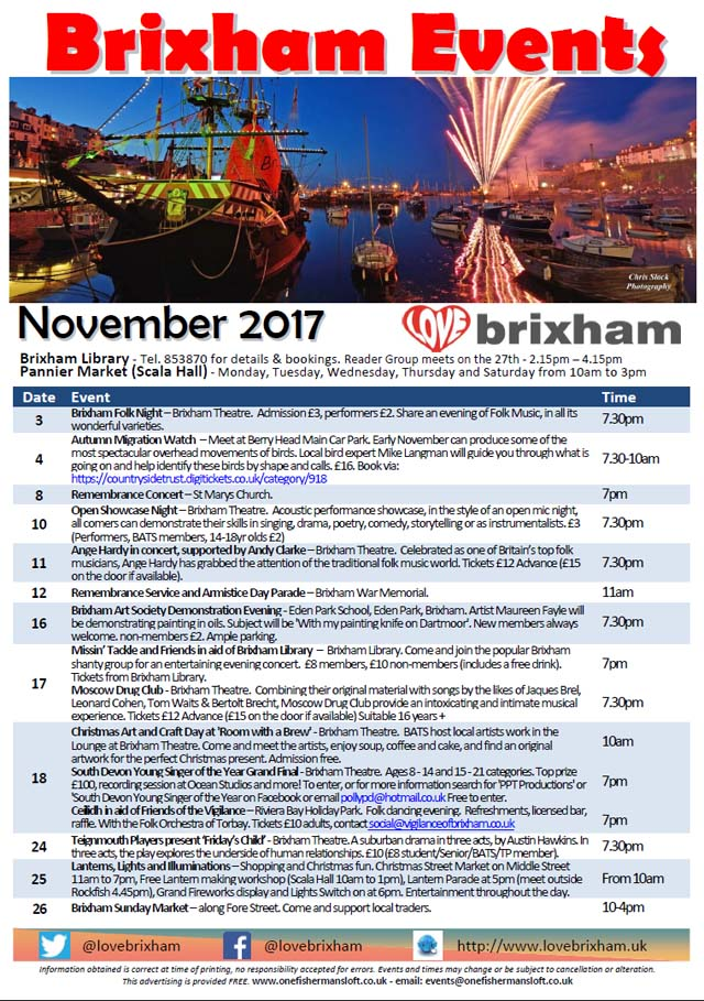Brixham November 2017 Events