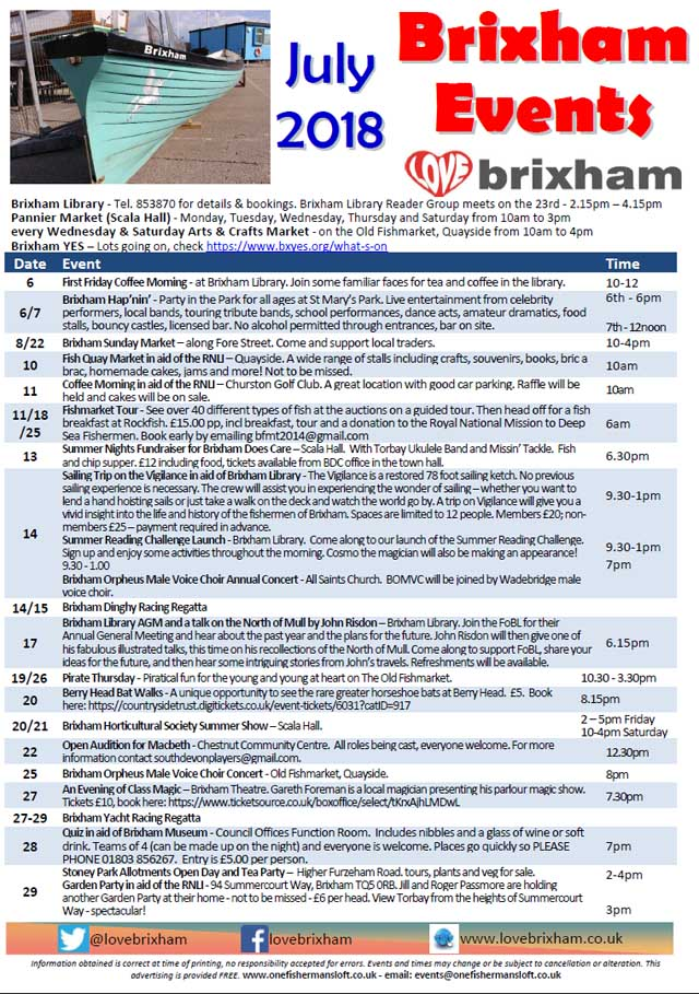 Brixham July 2018 Events