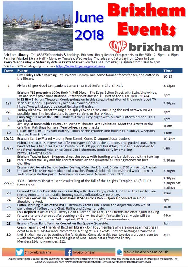 Brixham June 2018 Events