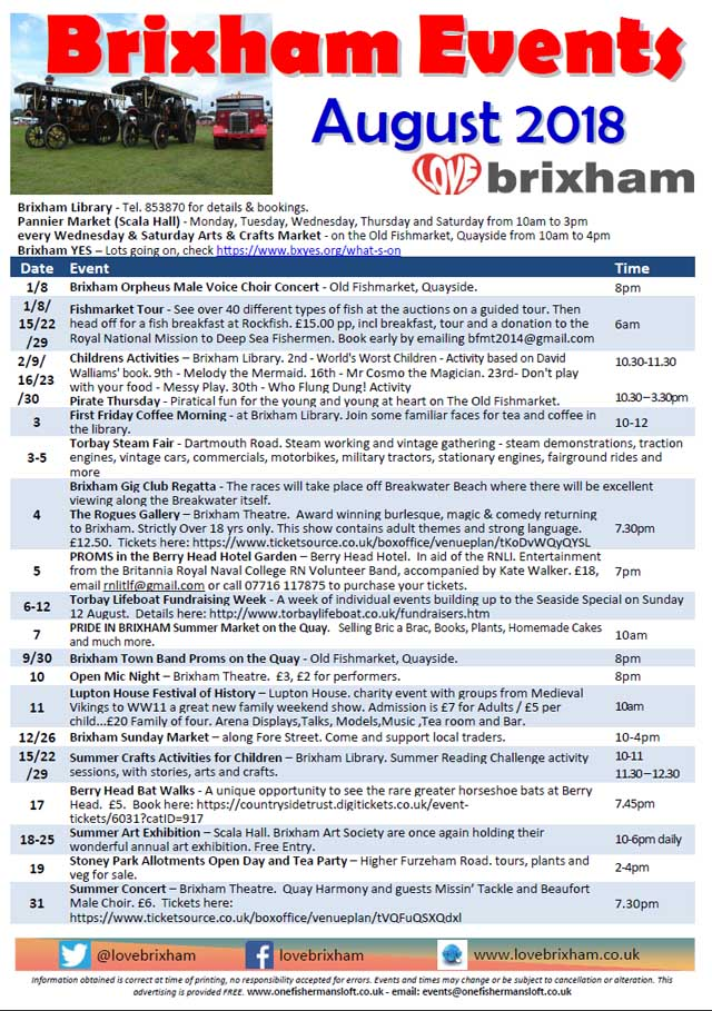 Brixham August 2018 Events
