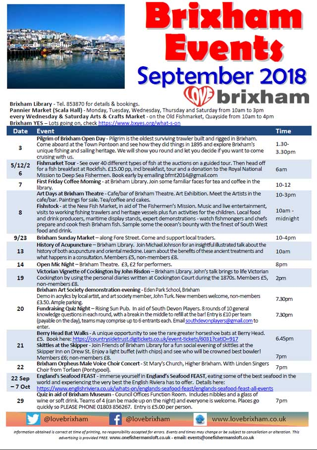 Brixham September 2018 Events