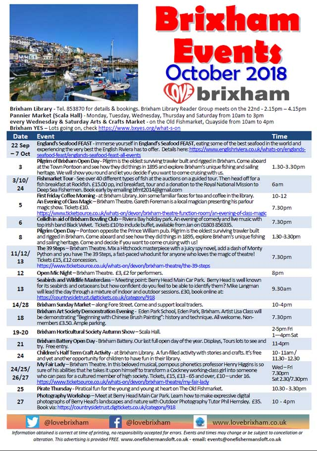Brixham October 2018 Events