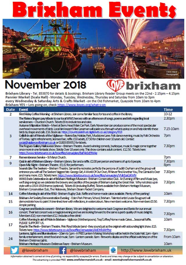 Brixham November 2018 Events