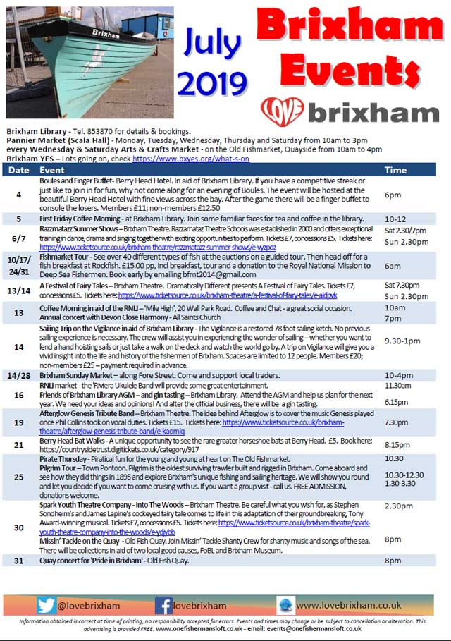 Brixham July 2019 Events