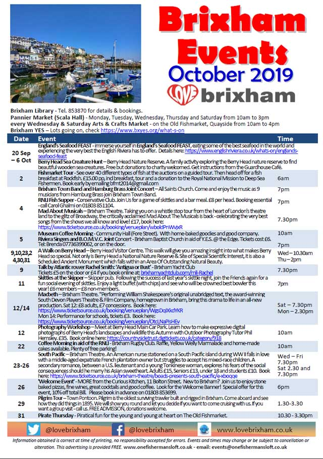 Brixham October 2019 Events