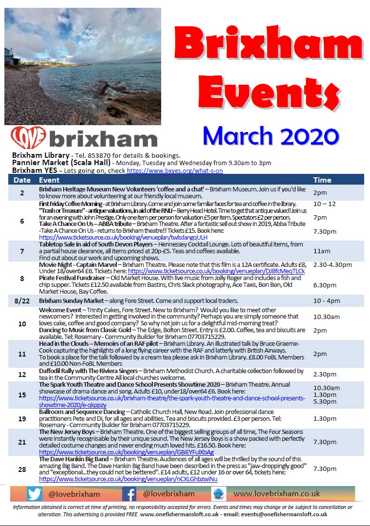 Brixham March 2020 Events