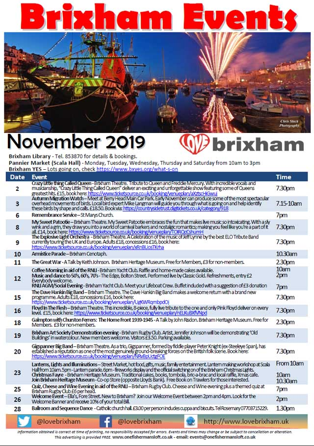 Brixham November 2019 Events
